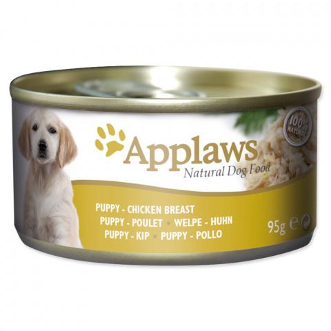 Konservi kucēniem - APPLAWS Puppy, ar vistas krūtiņu, liellopu un dārzeņiem, 95g title=