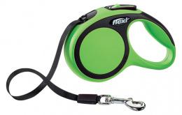 Инерционный поводок для собак - Flexi New Comfort Tape Leashes XS 3 m, цвет - зеленый