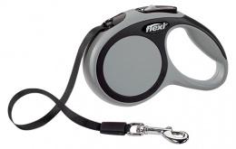 Инерционный поводок для собак - Flexi New Comfort Tape Leashes XS 3 m, цвет - серый