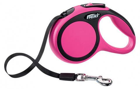 Инерционный поводок для собак - Flexi New Comfort Tape Leashes XS 3 m, цвет - розовый
