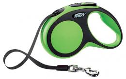 Инерционный поводок для собак - Flexi New Comfort Tape Leashes S 5 m, цвет - зеленый