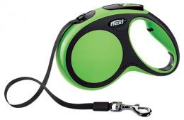 Инерционный поводок для собак - Flexi New Comfort Tape Leashes M 5 m, цвет - зеленый