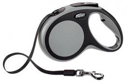 Инерционный поводок для собак - Flexi New Comfort Tape Leashes M 5 m, цвет - серый