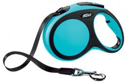 Инерционный поводок для собак - Flexi New Comfort Tape Leashes L 5 m, цвет - синий