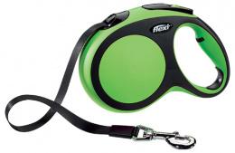 Инерционный поводок для собак - Flexi New Comfort Tape Leashes L 5 m, цвет - зеленый
