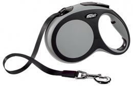 Инерционный поводок для собак - Flexi New Comfort Tape Leashes L 5 m, цвет - серый