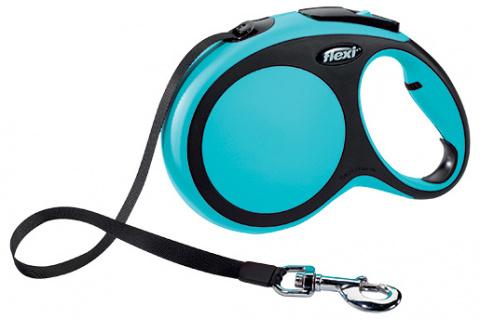Inerces pavada suņiem - Flexi New Comfort Tape Leashes L 8 m, krāsa - zila