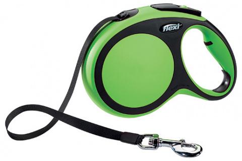 Инерционный поводок для собак - Flexi New Comfort Tape Leashes L 8 m, цвет - зеленый