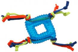 Rotaļlieta suņiem -  DogFantasy Gumijas rotaļlieta, kvadrāts ar virvi, zila, 19cm