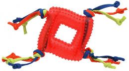 Rotaļlieta suņiem -  DogFantasy Gumijas rotaļlieta, kvadrāts ar virvi, sarkana, 20cm