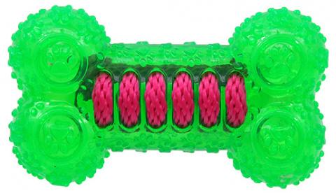 Игрушка для собак - DogFantasy Резиновая игрушка, кость, зеленый, 12cm