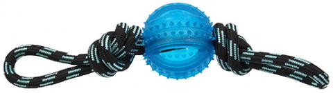 Rotaļlieta suņiem -  DogFantasy Gumijas rotaļlieta, virve ar bumbu, zila, 33cm