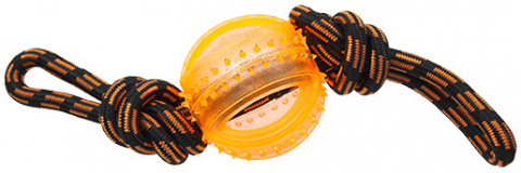 Rotaļlieta suņiem -  DogFantasy Gumijas rotaļlieta, virve ar bumbu, oranža, 35cm