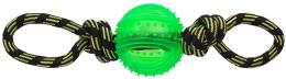 Игрушка для собак - DogFantasy Резиновая игрушка, веревка с мячом, зеленый, 35cm