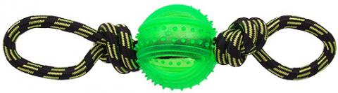 Rotaļlieta suņiem -  DogFantasy Gumijas rotaļlieta, virve ar bumbu, zaļa, 35cm