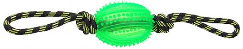 Игрушка для собак - DogFantasy Резиновая игрушка, веревка с мячом, зеленый, 38cm