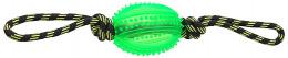 Rotaļlieta suņiem -  DogFantasy Gumijas rotaļlieta, virve ar bumbu, zaļa, 38cm