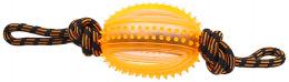 Rotaļlieta suņiem -  DogFantasy Gumijas rotaļlieta, virve ar bumbu, oranža, 45cm