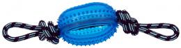 Rotaļlieta suņiem -  DogFantasy Gumijas rotaļlieta, virve ar bumbu, zila, 45cm
