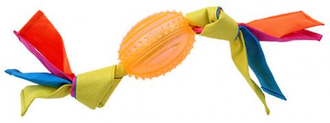 Rotaļlieta suņiem -  DogFantasy Gumijas rotaļlieta, ovala bumba ar audumu, oranža, 43cm