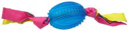Rotaļlieta suņiem -  DogFantasy Gumijas rotaļlieta, ovala bumba ar audumu, zila, 48cm