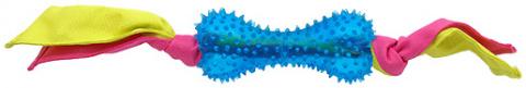 Rotaļlieta suņiem -  DogFantasy Gumijas rotaļlieta, kauls ar audumu, zila, 31cm