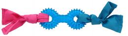 Игрушка для собак - DogFantasy Резиновая игрушка, гантеля с тканью, синий, 31cm