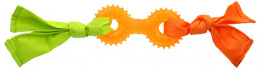 Игрушка для собак - DogFantasy Rubber toy, barbell with fabric, orange, 31 cm