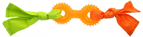 Rotaļlieta suņiem - DogFantasy Rubber toy, barbell with fabric, orange, 31 cm