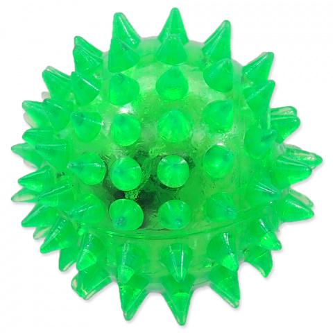 Rotaļlieta suņiem -  DogFantasy Gumijas rotaļlieta, Led bumba, zaļa, 5cm