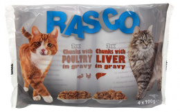 Konservi kaķiem - RASCO Cat 4-pack, vistas gaļa un aknas, 4*100g