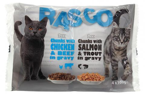 Konservi kaķiem - RASCO Cat 4-pack,  Vistas un laša gaļa, 4*100g