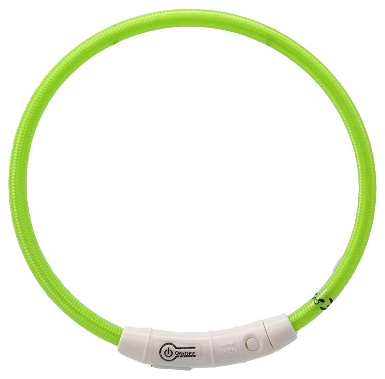 Atstarojošā kakla siksna - Dog Fantasy LED collar nylon, 45 cm, zaļa