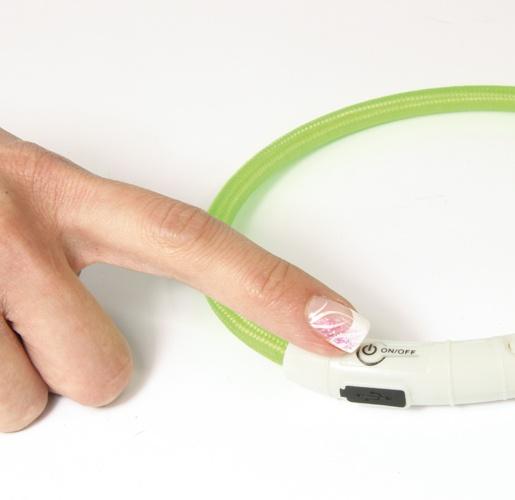 Отражающий ошейник - DogFantasy LED нейлоновый ошейник, 65cm, зеленый