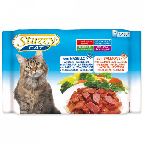 Консервы для кошек - Stuzzy Cat multipack, с треской и лососем, 4*100 г