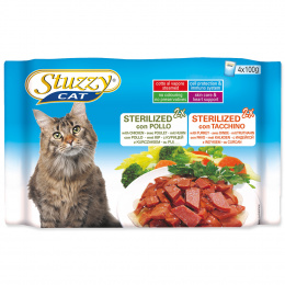 Konservi kaķiem - Stuzzy Cat multipack,  ar tītaru un vistu, 4*100 g