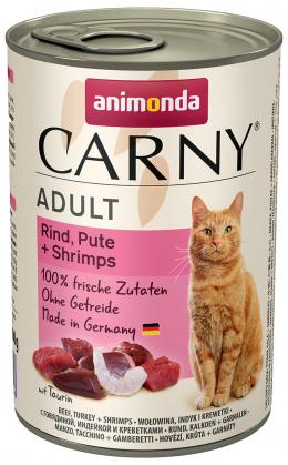 Konservi kaķiem - Carny Adult, ar liellopu, tītaru un garnelēm, 400 g