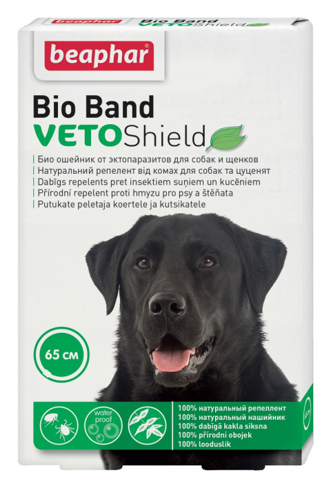 Pretblusu kaklasiksna suņiem – Beaphar, VETO Shield Bio Band, 65 cm title=