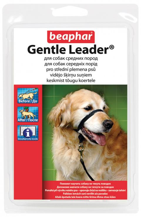 Коррекционный ошейник для собак - Beaphar Gentle leader for medium dog, черный title=
