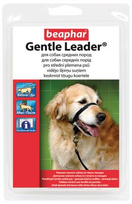 Коррекционный ошейник для собак - Gentle leader for medium dog, черный