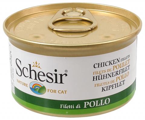 Консервы для кошек - SCHESIR Cat with Chicken in Jelly, 85 г title=