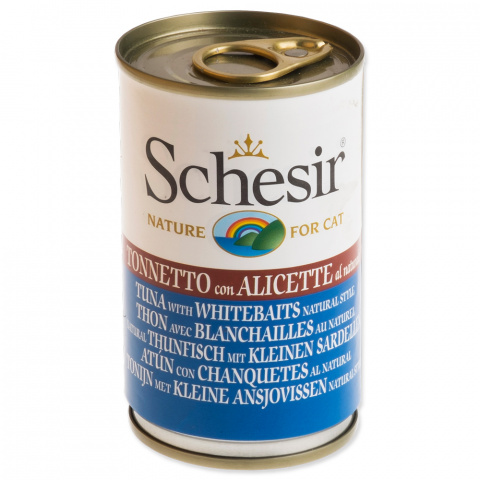 Консервы для кошек - SCHESIR Cat Tuna and Whitebaits, 140 г title=