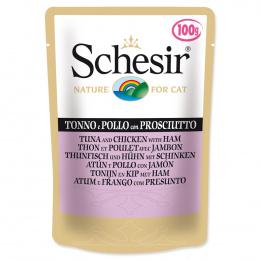 Konservi kaķiem - SCHESIR Cat Pouch Tuna, Chicken and Ham, 100 g