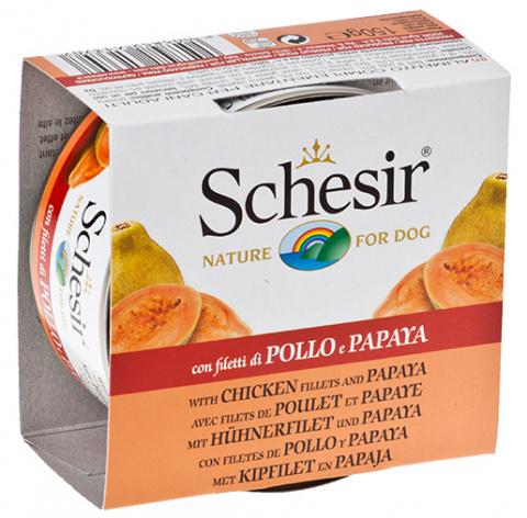 Konservi suņiem - Schesir Dog Fruit Canned, ar vistu un papaiju, 150 g title=