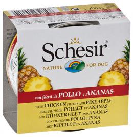 Konservi suņiem - Schesir Dog Fruit Canned, ar vistas fileju un ananāsiem, 150 g