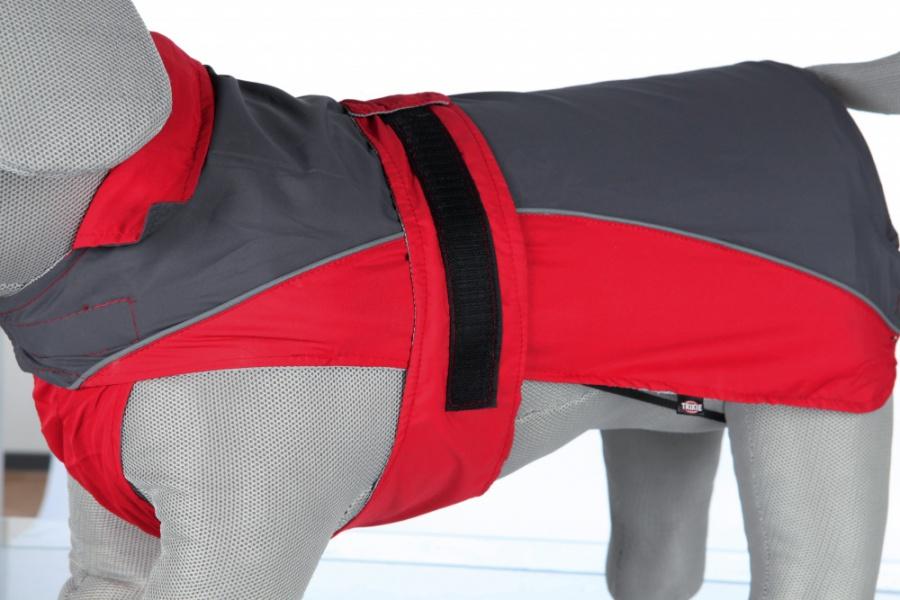Lietus mētelis suņiem - Trixie, Lorient rain coat, XL, 70 cm, sarkana/grey
