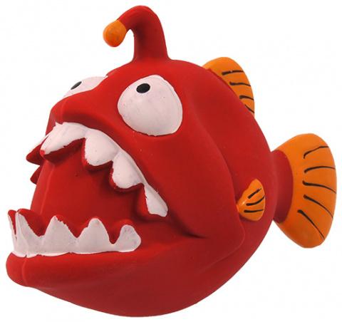 Rotaļlieta suņiem - Dog Fantasy Good's Latex fish with sound, red, 18 cm title=