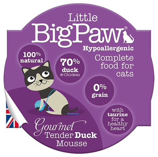 Konservi kaķiem - Little Big Paw Gourmet Tender Duck Mousse 85g