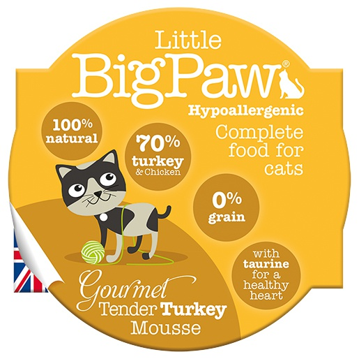 Konservi kaķiem - Little Big Paw Gourmet Tender Turkey Mousse 85g