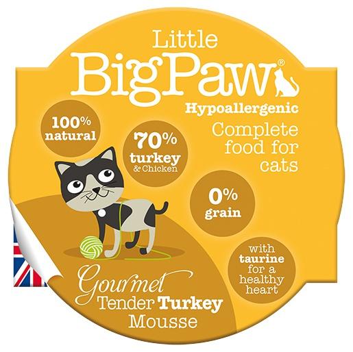 Konservi kaķiem - Little Big Paw Gourmet Tender Turkey Mousse 85g